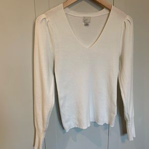 A New Day White Ribbed Sweater with Puff Sleeves